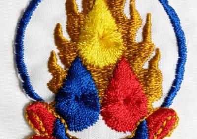 Dette er symbolet for Triratna: de tre juveler: Muligheten for oppvåkning; Buddhas lære som leder mot oppvåkning; og sangha som er fellesskapet av de som praktiserer Buddhas lære.