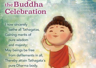 Versene som resiteres ved bading av Buddha ritualet