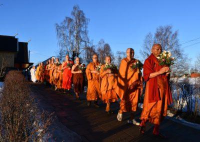 Fra prosesjon utenfor Wat Thay Norway i forbindelse med magha puja høytiden